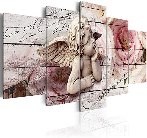 Guardian Angel Canvas Painting Wall Art 5 Panels Elegant Warm Picture Artwork Print on Canvas for Bedroom Living Room Home Decoration