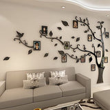 K109IZ Wall Stickers Tree Photo Frame Sticker DIY Mirror Wall Decal Home Decoration Living Room Bedroom Poster TV Background Wall Decor-Black Left-S About 1.4x1.0m