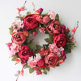 "SISJULY Flower Wreath Handmade 14"" Pink Champagne Rose Artificial Floral Silk Door Wreath for Front Door Wall Wedding Party Office Home Decor with Ribbon"