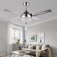 Crystal Modern Ceiling Fan Chandelier With LED Light And Remote Control 4 Stainless Steel Reversible Blades Quiet 44 Inch For Indoor Home Decoration Living Room Bedroom Chrome,Tropicalfan