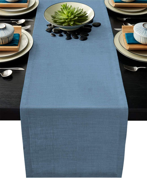 Custom Bed USA Solid Color Table Runner Dresser Scarf 13x90inch Linen Burlap Table Runners Non-Slip Heat Resistant Cloth Placemat Home Decor for Wedding Banquet Decoration - Blue