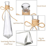 Nilos Glass Vases Set of 6, Clear Glass Flower Round Vase with Rope Design and Differing Unique Shapes for Wedding, Dinning, Home Decoration