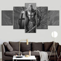zxianc 5 Piece Set Hd Print Picture Poster Knight Templar Painting Canvas Wall Art Picture Home Decoration Living Room Canvas Painting Frameless Picture 40X60Cmx2, 40X80Cmx2, 40X100Cmx1