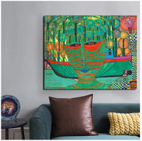 5STARS N&R Friedensreich Hundertwasser Canvas Painting Print Living Room Home Decoration Modern Wall Art Posters-50x70cm Frameless