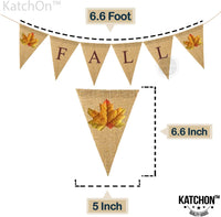 Vintage Fall Burlap Banner Backdrop – No DIY Required | Autumn Maple Leaves Retro Style | Great for Thanksgiving Day Decorations, Baby Bridal Shower Décor, Wedding, Outdoor, Home Office Accessories