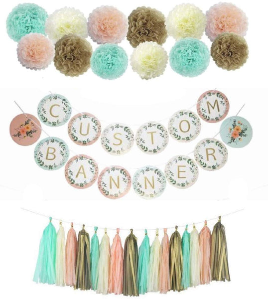 Personalized Banner, 72 Alphabet Letters Plus 12 Pom Poms and 16 Tissue Tassels, Fall Mint Peach Cream Gold Colors, Boho,Baby Shower, Birthday,Wedding Decorations,Bridal Shower,Create Your Greeting