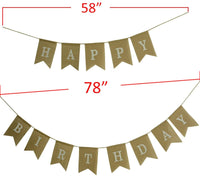 kingleder Happy Birthday Burlap Banner Rustic Birthday Party Bunting Banners Baby Shower Party Swallow-Tail Hemp Linen(5''X 7'')