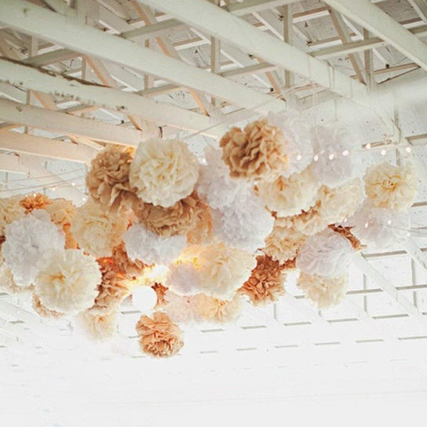 10PCS Mixed Cream Tan Brown White Party Tissue Paper Pom Poms Rustic Wedding Vintage Baby Shower Birthday Nursery Hanging Decoration