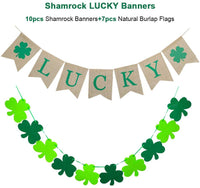 VERKB Shamrock Lucky Burlap Decoration Banner-St Patrick's DayThemed Decorations Sign-Home Decor for Kids Party, Holiday, Bedroom, Window, Fireplace, Cabinets