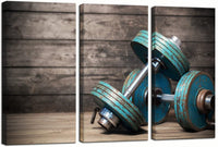 "sechars - Modern Canvas Painting Wall Art Vintage Dumbbells on Wooden Floor Picture Giclee Prints Artwork for Gym Boys Room Wall Decor,Framed and Ready to Hang -16""x32""x3pcs"
