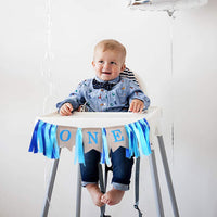 CCINEE 1st Birthday Party Favor Blue High Chair Burlap Banner for Boy Birthday Party Decoration