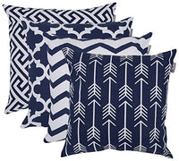 "Accent Home Square Printed Cotton Cushion Cover ,Throw Pillow Case, Slipover Pillowslip For Home Sofa Couch Chair Back Seat,4pc pack 18x18"" in Royal Blue color"