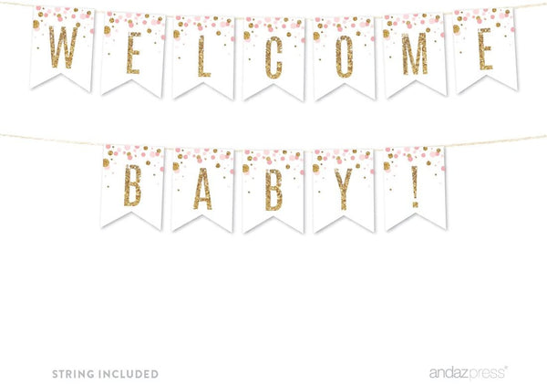 Andaz Press Blush Pink Gold Glitter Girl Baby Shower Party Collection, Hanging Pennant Party Banner with String, Welcome Baby!, 5-Feet, 1 Set