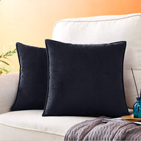 Andaot Pack of 2 Velvet Decorative Throw Pillow Covers for Couch, Soft Soild Square Cushion Case Set for Sofa Bedroom Car Outdoor Cushion Pillow Cases 18x18 Inch(Black)