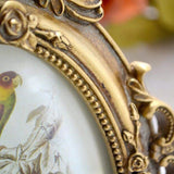 SIKOO Vintage Picture Frame 4x6 Oval Antique Table Top Wall Hanging Photo Frame with Glass Front for Home Decor (Gold Bird)
