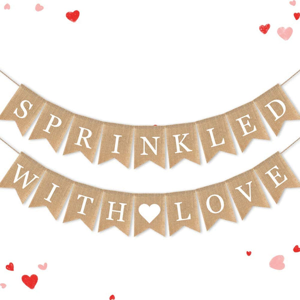 SWYOUN Burlap Sprinkled with Love Banner Baby Shower Birthday Party Garland Mantel Fireplace Sprinkle Party Decoration