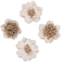 Amosfun 12Pcs Burlap Flower Handmade Rustic Flower for Craft Bouquets Wedding Party Decoration