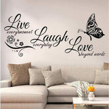 MOVEmen Live Love Laugh Personality English Butterfly Wall Sticker Wallpaper Sticker DIY Mobile Creative Wall Sticker Home Decor Art Mural Living Room TV Background Wall Decoration Wall Sticker