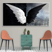YUANOMWJ Canvas Print Painting,Modern Black White Feather Angel Wings,Canvas Painting Wall Art Posters Prints No Frame Pictures Living Room Home Decoration,50X100Cm(20X40Inch)