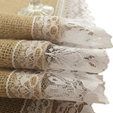 OZXCHIXU(TM) 5 PCS 14x108 Inch Burlap Jute Table Runners With Scalloped Lace Trim, Farmhouse Kitchen Decor, Baby Shower Decor, Rustic Barn Wedding Decorations(White Lace)