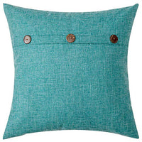 MIULEE Set of 2 Decorative Linen Throw Pillow Covers Cushion Case Triple Button Vintage Farmhouse Pillowcase for Couch Sofa Bed 18 x 18 Inch 45 x 45 cm Chocolate