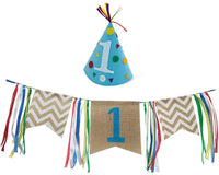 Felt Hat Pack and Burlap High Chair Banner for Baby 1st Birthday Party Decorations
