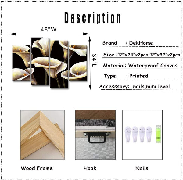 DekHome 4 Piece White Flower Canvas Wall Art Still Life of Calla Lily Picture Paintings Elegant Floral Prints on Canvas Modern Artwork for Home Office Kitchen Wall Decor Stretched and Framed