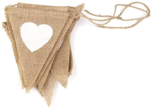 2 Sets of 13 Flags Love Heart Rustic Jute Bunting Garland Banner Burlap Vintage Hessian Pennant for Party Halloween Birthday Wedding Bridal Shower Favor Decoration (3m/9 feet)
