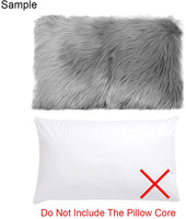 OJIA Faux Fur Throw Pillow Cover Lumbar Cushion Case Super Soft Plush Accent Pillows Case Decorative New Luxury Series Style (12 x 20 Inch, Thick Grey)