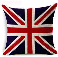 British Flag Decorative Pillow Covers Union Jack 18 X 18 Inch Cotton Linen Burlap Square Throw Pillow Cases Home Decor for Living Room,Car Seat,Rustic Farmhouse