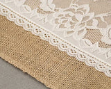 12x108 Inch Burlap and Lace Table Runner Fall Decorations, Country Rustic Barn Wedding Decorations, Farmhouse Kitchen Decor, Baby Birdal Shower Decoration