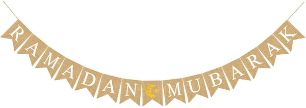 Jute Burlap Ramadan Mubarak Banner with Moon and Star Mantel Fireplace Decoration