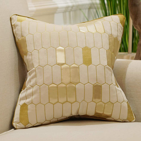 Avigers 18 x 18 Inch Plaid Embroidery Velvet Cushion Cover Luxury European Pillow Cases Pillowcase Home Decorative for Sofa Chair Bedroom Throw Pillow, Beige