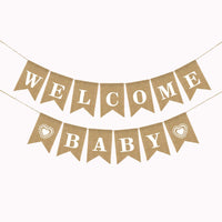 Welcome Baby Burlap Banner-Vintage Burlap Linen Flags Decorative for Baby Shower, Gender Reveal Boy Girl Party Supplies.