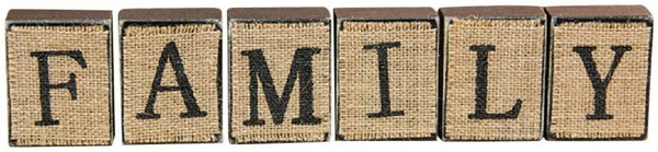 Burlap Family Wooden Blocks Sign Shelf, Mantle, Table Home Decor