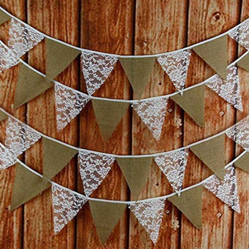 33 Feet Hessian Burlap Floral Lace Banner Bunting Garland for Rustic Wedding Baby Shower and Party Home Decoration