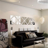 3D Mirror Wall Stickers, 4 Pcs Acrylic Crystal Art Wall Decal, Self Adhesive Removable Mirror Plastic Wall Sheet Tiles DIY Home Decoration for Living Room Bedroom Stair Wall Decor (Silver, 4 pcs)