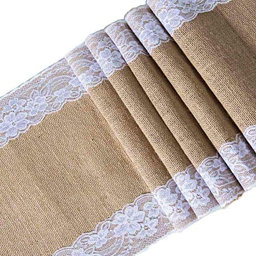 E EVERKING Burlap Lace Hessian Table Runner, Rustic Natural Jute Country Table Decoration Wedding Party Decoration Baby Shower Farmhouse Decor 12X108 Inch (2 Packs)