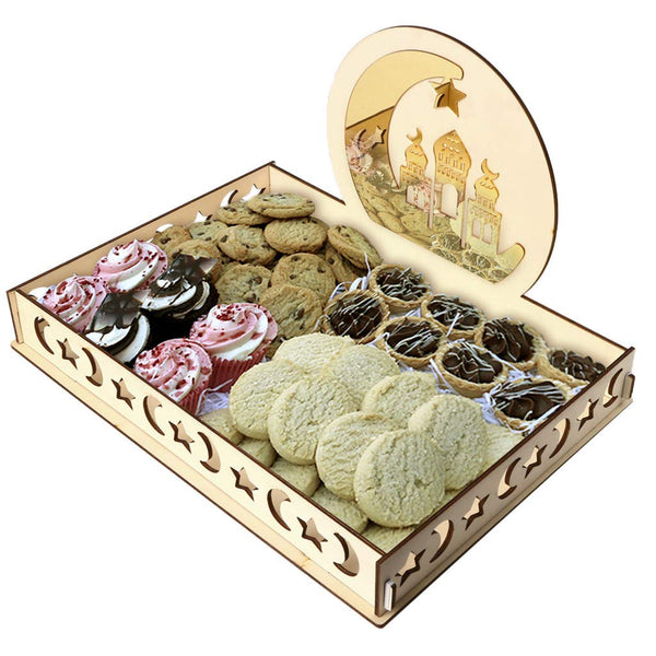 DIY Eid Mubarak Dessert Tray Rustic Wooden Serving Tableware Wood Party Display Tray for Ramadan Party Food Serving (D)