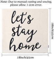 CDWERD Farmhouse Pillow Covers with Let's Stay Home Quotes 18x18 Inches Farmhouse Decor for New Home Housewarming Gifts