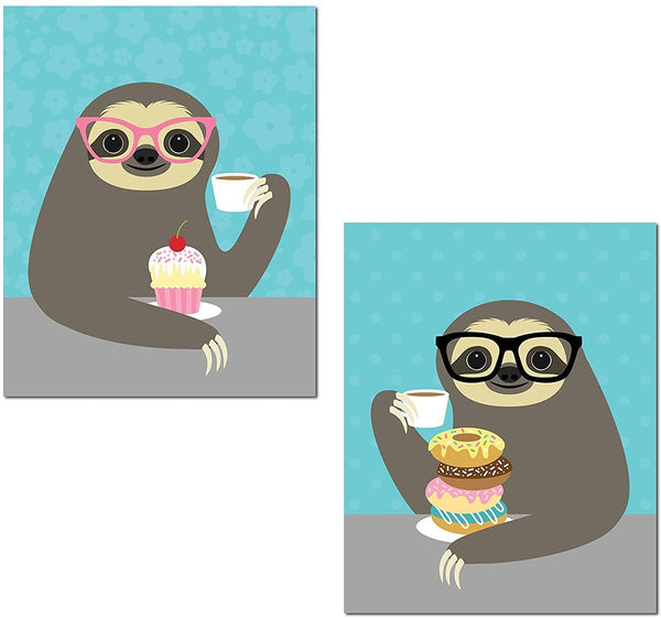 Gango Home Décor Adorable Cupcake and Donut Eating Hipster Sloth Set; Perfect for Any Kitchen; Two 11x14in Unframed Paper Posters