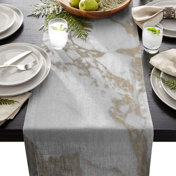 Olivefox Linen Burlap Table Runner 13x70 Inches Long, Grey and Gold Marble Pattern Farmhouse Table Cloth Dresser Scarf for Holiday Parties, Dining Room, Home Kitchen, Wedding Decorations