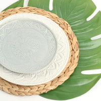 "Koyal Wholesale Water Hyacinth Placemats, 13"" Round Mat Weave Charger Plates, Set of 4, Eco Friendly Tropical Wedding or Home Decor"