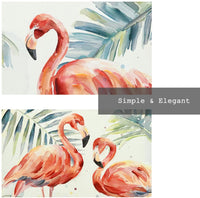 Crescent Art Framed Watercolor Tropical Wildlife Animal Pink Flamingo Bird Painting on Canvas Print Picture Wall Art for Living Room Wall Decoration Home Accent (32 x 32 inch, B Framed)