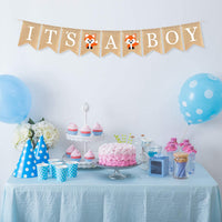 AERZETIX It's a Boy Burlap Bunting Banner Fox Sign Baby Shower Birthday Welcome Party Decoration Nursery Room Fireplace Table Wall Sign