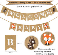 KeaParty Woodland Baby Shower Decorations, Woodland Creatures Baby Shower, Woodland Animals Baby Shower for Boy or Girl, Welcome Baby Rustic Burlap Banner, Oh Baby Decorations for Baby Shower