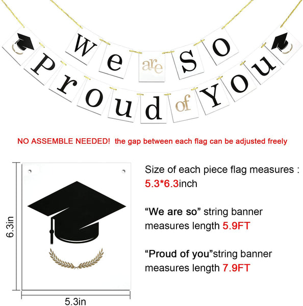 Graduation Banner, Konsait We are So Proud of You Bunting Banner Garland Pennant Sign with Graduation Cap Symbol for Graduation Gift Party Home Decorations Favors Supplies