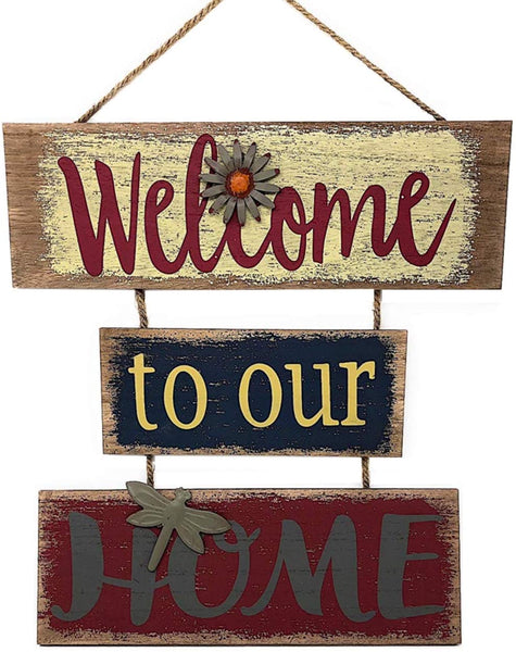 "Welcome Home Sign for Wall Front Door Decor Indoor Outdoor 16"" x 21"""
