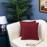BRAWARM Pack of 2 Cozy Throw Pillow Covers Cases for Couch Sofa Home Decoration Supersoft Corduroy Corn Striped with Piping Both Sides 18 X 18 Inches Burgundy