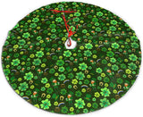 MJINSJIA-TS St. Patrick's Day Four-Leaf Clover Green Leprechaun Christmas Tree Skirt Gorgeous for Xmas Party Ornaments Decoration Accessory Gift